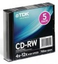 Диск CD-RW TDK 700Mb 10x Slim case (5шт) (T18791)