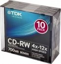 Диск CD-RW TDK 700Mb 4x-12x Slim Case (10шт) t18792 CD-RW700HSCA10-L